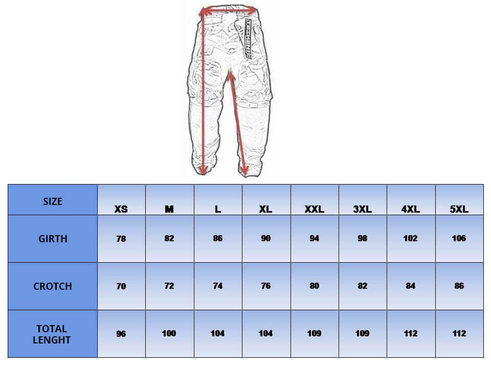 Table with sizes for motorbike pants.