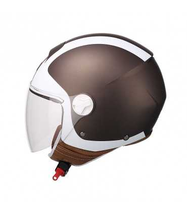 Casque jet Cgm 107A Florence long brown blanc matt