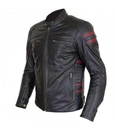 Veste en cuir Prexport Stripes noir bordeaux