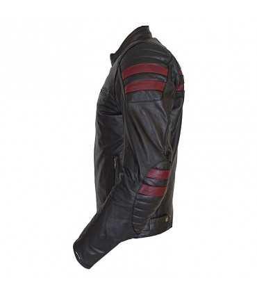 Giacca in pelle Prexport Stripes nero bordeaux