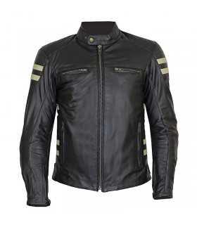 Motorcycle jacket Prexport Stripes black beige