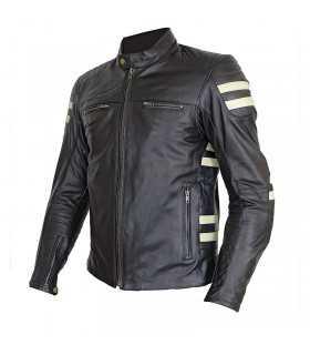 Veste en cuir Prexport Stripes noir beige