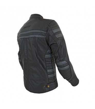 Veste en cuir Prexport Stripes noir gris