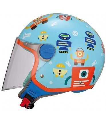 Casco jet bambino BHR Robot blu