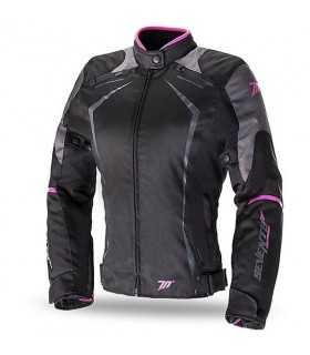 Veste moto femme Seventy JR49 noir pink