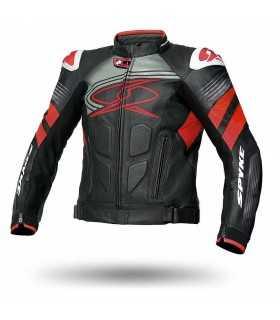 Veste moto en cuir Spyke Estoril Evo noir rouge