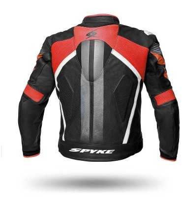 Spyke Estoril Evo leather jacket black red