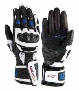 A-Pro Cobra weiße blaue Lederhandschuhe