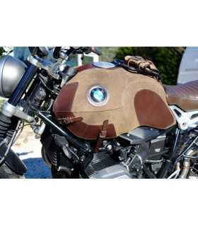 BMW - UNIT GARAGE BMW R-NINE-T COVER SERBATOIO IN CROSTA DI CUOIO CON PORTAPACCHI MOSS GREY/MARRONE