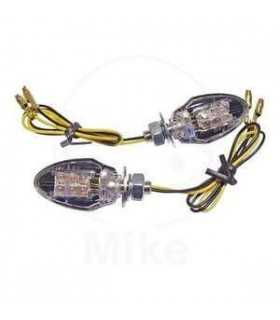 PAIRS LED CLEAR - LENS TURN SIGNAL ECE APRROVED SUPER MIN BLACK