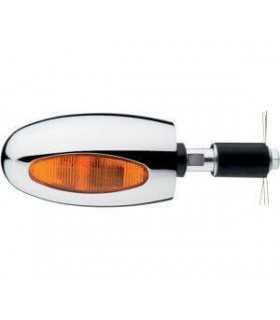 COPPIA FRECCE ALOGENE BL 1000 LED OMOLOGATE CROMATE VETRO ARANCIONE