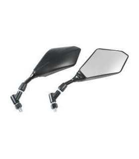 E-MARKED MIRRORS BLACK WITH CLEAR CONVEX LENS