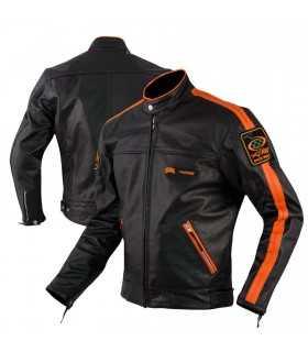 A-PRO SILVERSTONE LEATHER jacket BLACK ORANGE