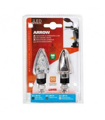 Coppia Arrow-2 omologate, indicatori di direzione a Led - 12V LED - Cromo SBK_923 LAMPA FRECCE MOTO UNIVERSALI