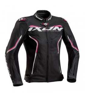 Lederjacke damen Ixon Trinity schwarz pink