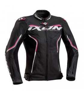 Veste femme en cuir Ixon Trinity noir pink