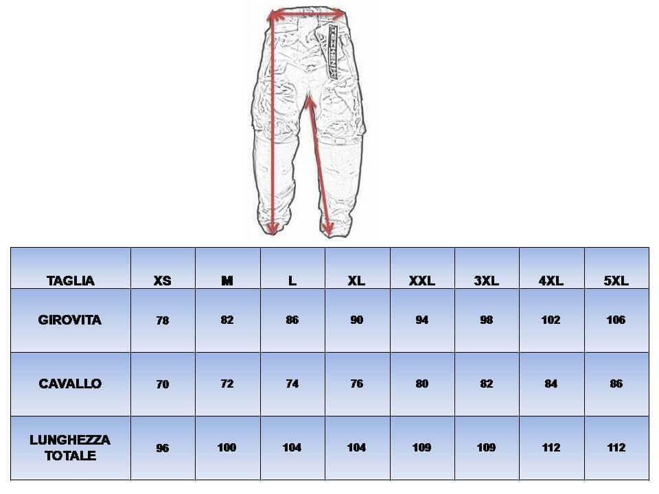 Tableau de sélection pour la taille des pantalons de moto.